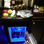 The mini bar in the room