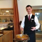 Crepe Suzette making lesson: in the bar after a day skiing.