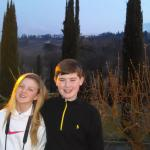 My kids in Tuscany (patio of the hotel)