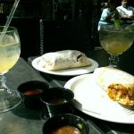Monster burritoes, margaritas, and assorted salsas.