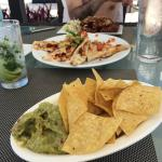 Chips & guacamole, quesadila, and chicken wings