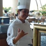 cheerful omelet chef at the Ocean Terrace