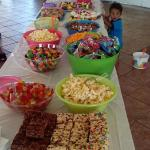 'lil one getting a sneak peak at the treats table