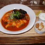 Seafood soup, croutons, rouille