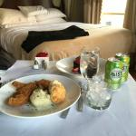 fried chicken & biscuits from room service