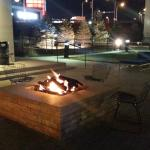The firepit in the courtyard