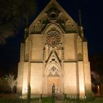 Loretto Chapel at night.