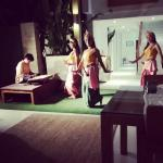 Thai dancers with the dinner buffet