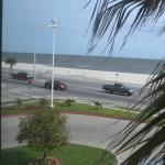 View from my room showing how close hotel is to the beach.