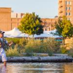 A fly fisherman on the Clark Fork River in Downtown Missoula