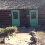 Buckey O'Neill Cabin exterior taken from the South Rim.  Right door is to living room, left is t