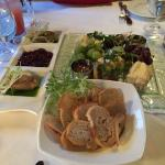 """A """"small"""" cheese plate. Lovely old cheese and house-made preserves and crustini."""