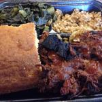 KC Black Ends with Dirty Rice, Collard Greens and Cornbread