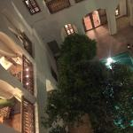 The newly renovated courtyard at night