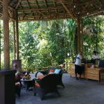 Private beach, squirrel monkey, front desk and the motor lobby.