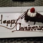 Happy Anniversary goodies provided by the hotel.