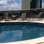 The rooftop pool (You can see a layer of dirt on the pool)