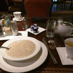 Breakfast of steel cut oatmeal and tea at the Terrace (complimentary with Diamond benefits).