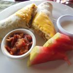 Hmmm the food was delicious! Breakfast burrito