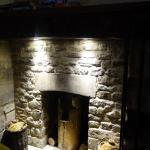 Fireplace behind our table