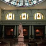 Main lobby area with statue of Thomas Jefferson who it's named after