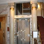 Elevator, old, which fits into the house. Works fine