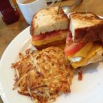 Double yolk sandwich with bacon and cheese ! Love love yummy ! At the breakfast restaurant - mus