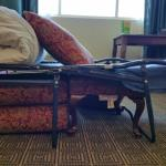 Better fold out support.. pillows, ottoman & coffee table.  Excpt 4 steel bar on back, it worked