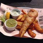 Fish & Chips, mushy peas & tartare sauce. This was the small portion at £6.50, larger portion av