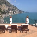 View from em 102 private terrace onto shared terrace and Conca di Marini