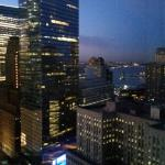 Evening shot of other buildings and the Hudson river from room 3707