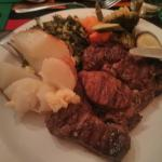 At dinner they had a buffet with grill.  You select the meat, and they grill it to order.  I