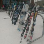 Mine's the white-and-blue snowboard