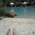 Lazing by the lagoon pool