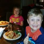 Kids enjoying very generous portioned Kids Menu Room service items
