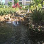 Small waterfall with sitting area near the pool