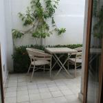 small patio (in room right behind front desk)