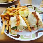 Crab and shrimp garden salad wrap with over cooked fries!
