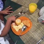 Smart breakfast for kids with plastic sets too