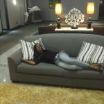 Relaxing by the lounge at floor 5