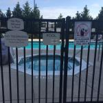 Look at our nice pool which we opened and cleaned but you can't go in because although its 80 de