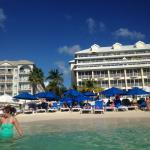 Comfort Suites beach (blue umbrellas)