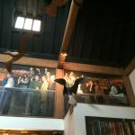 Wooden seagulls and mural in the bar