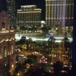 View of the Bellagio fountains from our Jubilee tower room at Bally's room 5639