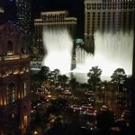 View of the Bellagio fountains from our Jubilee tower room 5639