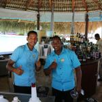 Emilio and Bernardo after making a passion fruit drink