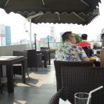Breakfast at top floor. I did not need lunch after stuffing myself here