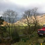 A view from the B&B, down the valley, towards Dungeon Ghyll and Stickle.