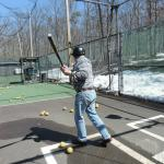 Our British guest trying out the batting cages.