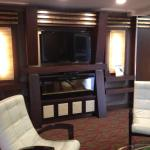 A nice big screen TV with some very chick furniture awaits you in the lobby